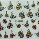 TM Nail Art 3D Glitter Decal Stickers Flowers Pink Gold Silver BLE863D/E25