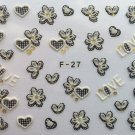 TM Nail Art 3D Decal Stickers Lace Hearts & Flowers Love Valentine's Day F03 or F27 BLACK WHITE GOLD