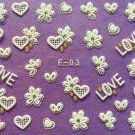 TM Nail Art 3D Decal Stickers Lace Hearts & Flowers Love Valentine's Day F03 or F27  WHITE GOLD