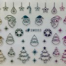 TM Nail Art 3D Decal Stickers Multicolored Christmas Tree Santa Candycane SW003