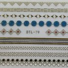 TM Nail Art 3D Decal Stickers Shape Patterns Zig Zag Circles Gold DTL79