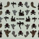 TM Nail Art 3D Glitter Decal Stickers Halloween Ghost Skull Haunted House BLE920D