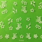 TM Nail Art 3D Decal Stickers White Butterflies & Flowers Y002