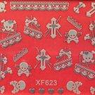 TM Nail Art 3D Decal Stickers Halloween Skull Bones Cross Heart Lace Ribben XF623