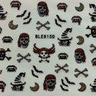 TM Nail Art 3D Glitter Decal Stickers Halloween Pirate Witch Skull Bat Bone BLE915D