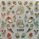 TM Nail Art 3D Decal Stickers Christmas Santa Mittens Snowflakes Candycanes XJ GOLD