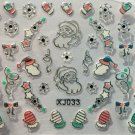 TM Nail Art 3D Decal Stickers Christmas Santa Mittens Snowflakes Candycanes XJ SILVER