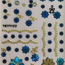 TM Nail Art 3D Decal Stickers Blue & Gold Flowers & Lace YGYY102