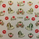 TM Nail Art 3D Decal Stickers Valentine's Day Wedding Love Carrriage Kiss TJ090 GOLD