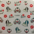 TM Nail Art 3D Decal Stickers Valentine's Day Wedding Love Carrriage Kiss TJ090 SILVER