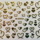 TM Nail Art 3D Decal Stickers Gold or Silver Hearts Valentine's Day BLE053J GOLD
