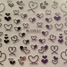 TM Nail Art 3D Decal Stickers Gold or Silver Hearts Valentine's Day BLE053J SILVER