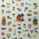 TM Nail Art 3D Decal Stickers Summer, Palm Trees, Beach, Sunset, Sunshine LY242