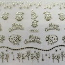 TM Nail Art 3D Decal Stickers Merry Christmas Winter Santa Bells Snowflakes TY106 SILVER