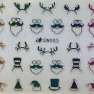 TM Nail Art 3D Decal Stickers Multicolored Christmas Hats Reindeer Ears Santa SW005
