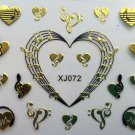 TM Nail Art 3D Decal Stickers Headphone Hearts Music Notes Gold or Silver XJ096 GOLD