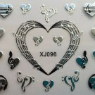TM Nail Art 3D Decal Stickers Headphone Hearts Music Notes Gold or Silver XJ096 SILVER