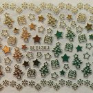 TM Nail Art 3D Decal Stickers Christmas Tree Stars Snowflakes Presents BLE130J GOLD
