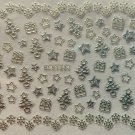 TM Nail Art 3D Decal Stickers Christmas Tree Stars Snowflakes Presents BLE130J SILVER