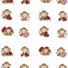 Monkey Love ( Valentine) W Water Transfer  D  NailArt