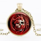 Red dragon glass pendant necklace personality skull pen