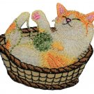 Cat in a Basket with Yarn Applique Patch (Iron on)