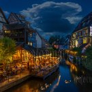 Digital Photo Wallpaper Background Screensaver Desktop-River channel night town landscape
