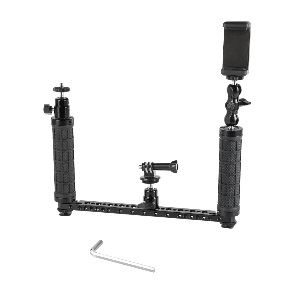Rubber Handgrip Supporting Rig With Mobile Phone Clip & Monopod Mount For GoPro HD HERO Camera