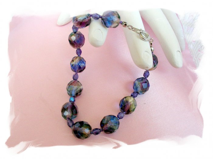 Purple, Blue & Yellow Faceted  Glass Bracelet jewelry