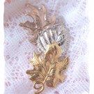 Avon signed 3 leaf cast pin - jewelry