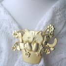AJC signed cat pin - cat in the flower pot jewelry