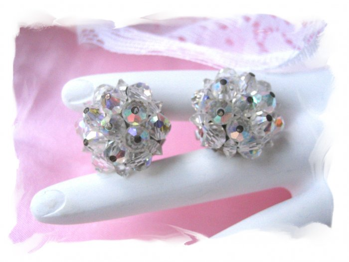 vintage jewelry Crystal Laguna Lead Crystal Earrings