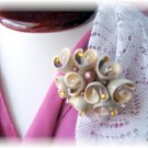 Vintage costume Jewelry Seashell Pin w rhinestones