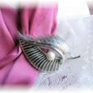 Vintage Signed Coro Leaf pin brooch faux pearl