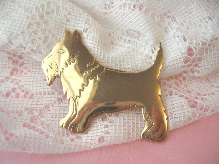 Dog pin vintage jewelry 1980's brass collectible brooch scotty