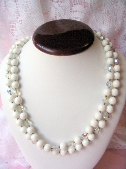 Double white Strand Beaded Necklace w Crystals glass beads