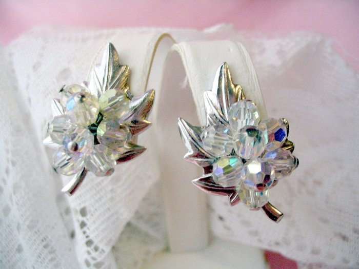 Vintage aurora borealis  crystal glass leaf earrings