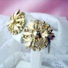 Vintage Earrings Signed Coro screw-type flower