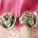 Rose Earrings clip Vintage Jewelry flower