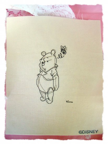 Winnie the Pooh sketch finished completed cross stitch
