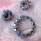 Signed Warner Blue Aurora Rhinestone Pin & Earrings