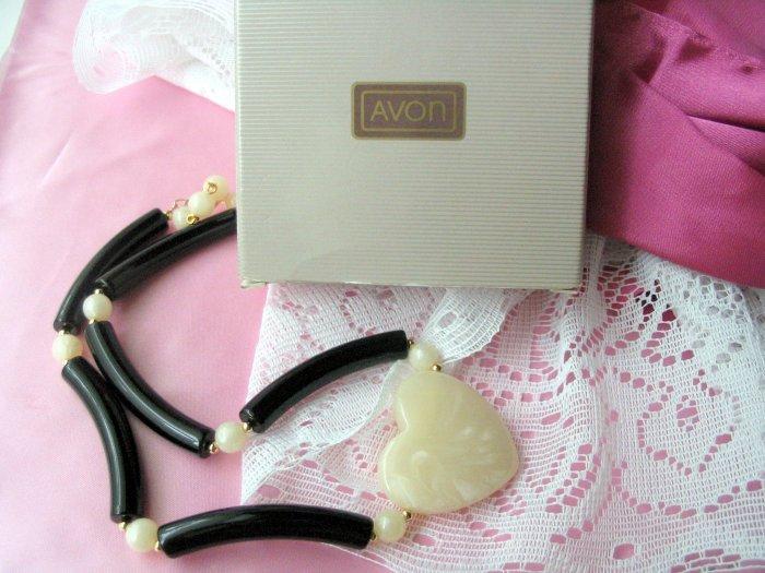 Avon Modern Heart Choker Black Necklace
