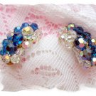 Sapphire  & Clear Crystal Earrings vintage jewelry