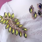Green Leaf Rhinestone Demi Parure Set Clip Earrings & Pin