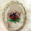 West Germany Reverse Carve Rose Glass Pin
