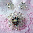 Vintage Aurora Crystal Pin & Earrings Rhinestone