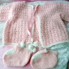 Handmade Crocheted Pink Sweater & Booties 0-3 layette