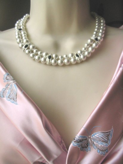 2 Strand faux Pearl Crystal rhinestone & Black Necklace