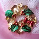 Gerry's Wreath Christmas Pin Vintage