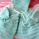 Wonderful Hand Crocheted Teal Sweater and Hat Set